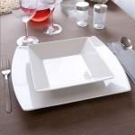 Lot de 6 assiettes carrées creuses porcelaine blanche - L 20 cm - Kimi