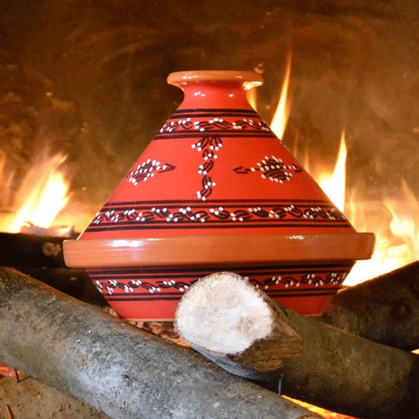 Tajine Tatoué rouge - D 23 cm traditionnel