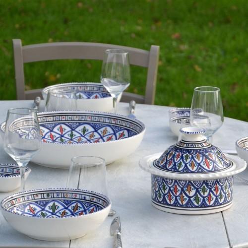 Service à couscous assiettes jattes Bakir Bleu - 8 pers
