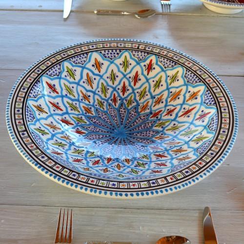 Plat traditionnel Tebsi Bakir turquoise - D 37 cm