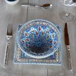 Assiette carrée Bakir turquoise - L 19 cm