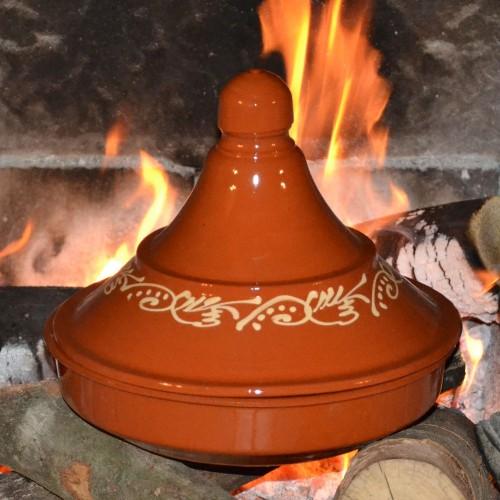 Tajine de cuisson décoré en pâte à feu - D 25 cm