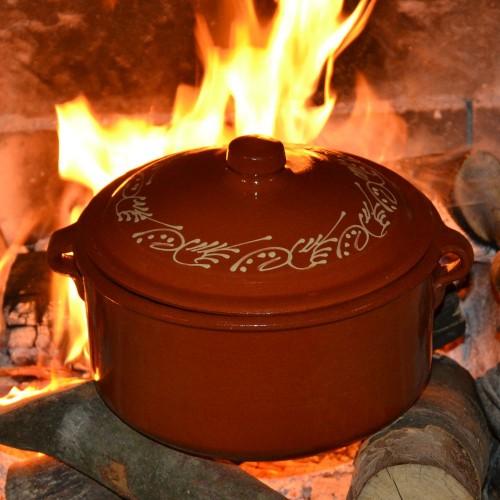 Casserole de cuisson en terre cuite décorée - D 22 cm
