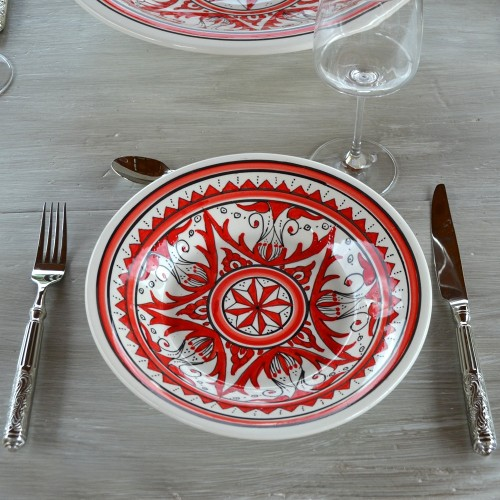 Lot de 6 assiettes creuses Nejma rouge - D 24 cm