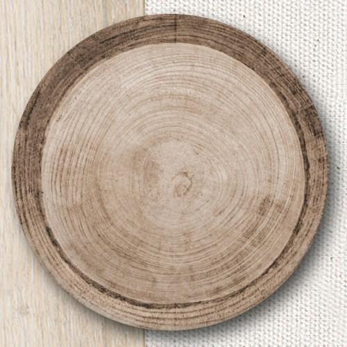 Lot de 6 assiettes à pizza décor Effet Bois -D 33 cm