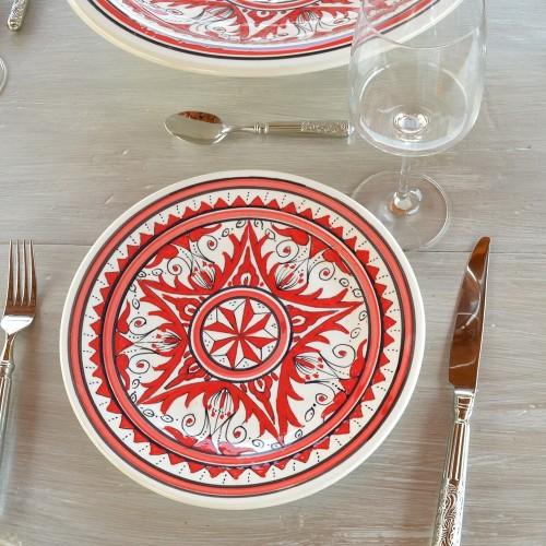 Assiette plate Nejma rouge - D 28 cm