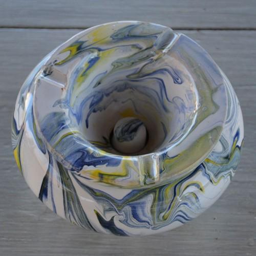 Cendrier anti fumée Géant marbré jaune, bleu et blanc D30 cm