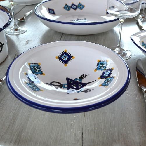 Plat Tebsi Sahel bleu - Diam 27 cm