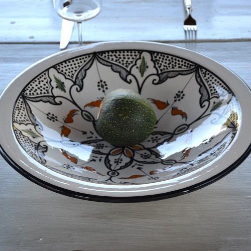 Lot de 6 grandes assiettes creuses Tebsi Marocain noir - D 27 cm