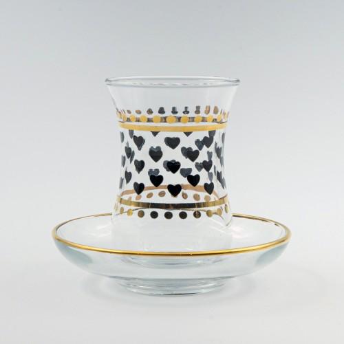 Verres à café ou à thé avec ces soucoupes Habibi 10 cl x 6 - Coffret