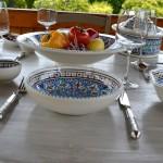 Service à couscous assiettes jattes Bakir turquoise - 6 pers