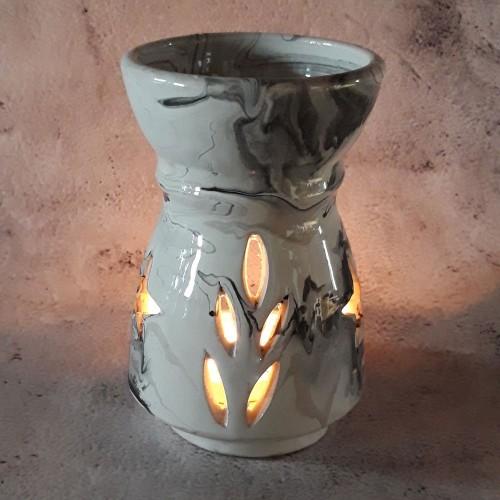 Brûle parfum Marbré noir et blanc - Grand Modèle