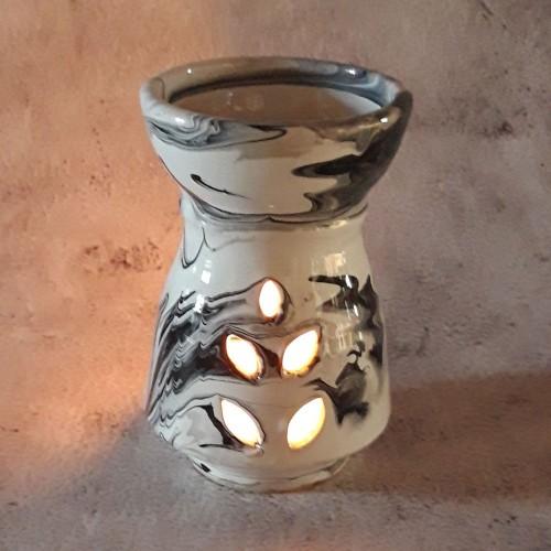 Brûle parfum Marbré noir et blanc - Petit Modèle