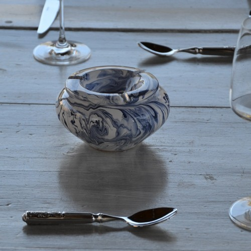 Cendrier tunisien marbré bleu et blanc - Petit modèle