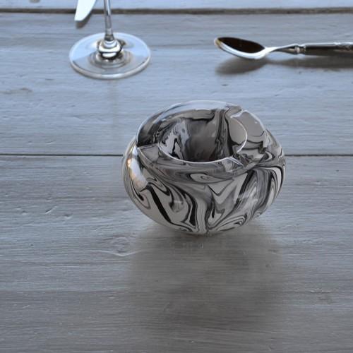 Cendrier anti fumée marbré noir - Moyen modèle