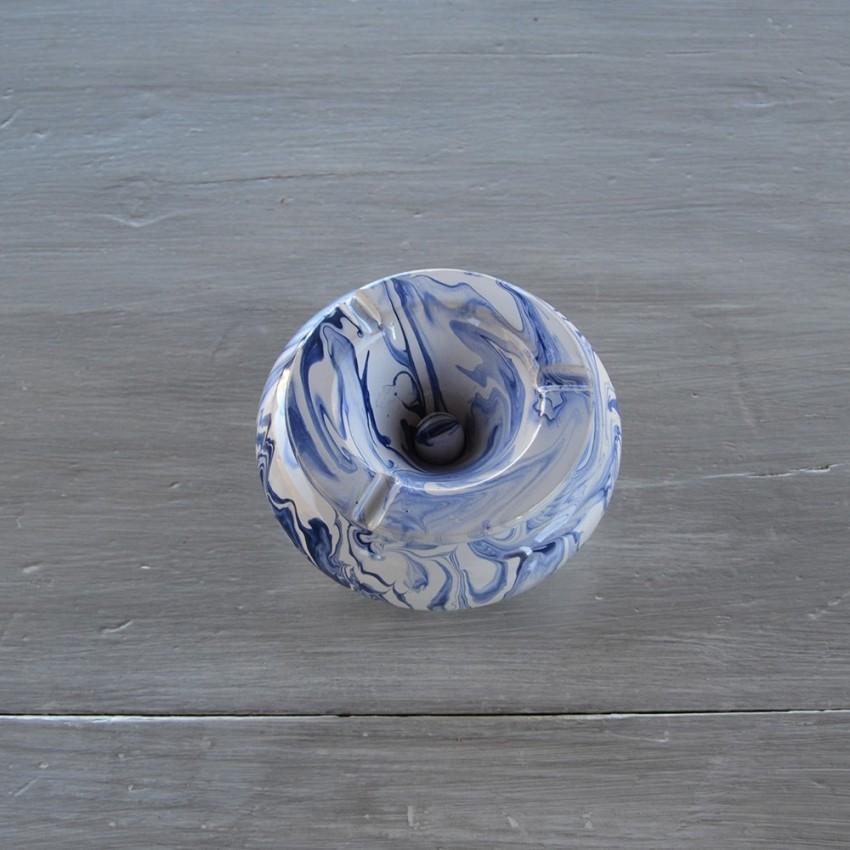 Cendrier anti fumée marbré bleu - Moyen modèle