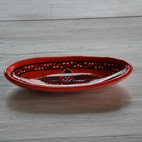 Plat ovale Tatoué rouge - L 20 cm