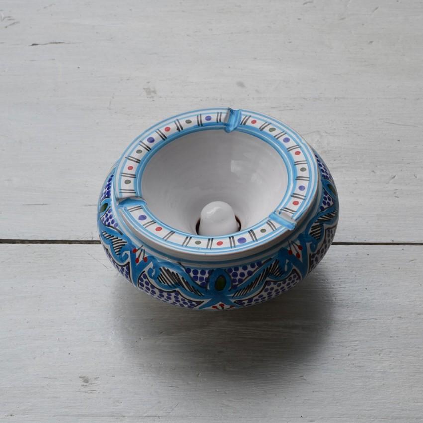 Cendrier anti fumée Marocain turquoise - D 20 cm