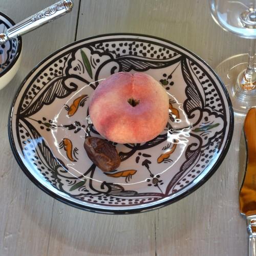 Lot de 6 assiettes à entrée ou dessert Marocain noir - D 20 cmm