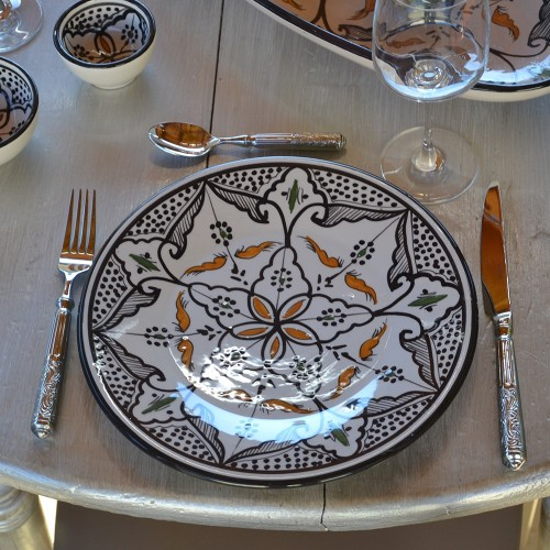 Lot de 6 assiettes plates Marocain noir - D 24 cm