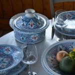 Service à couscous Marocain turquoise assiettes creuses - 12 pers