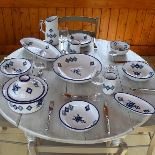 Service à couscous assiettes jattes Sahel bleu - 12 pers