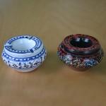 Lot de 2 mini cendriers Marrakech Blanc et Noir