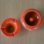 Lot 2 mini cendriers Marrakech Orange et Vert