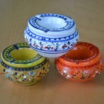 Lot 3 mini cendriers Marrakech Blanc, Vert et Orange