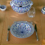 Service couscoussier assiettes Tebsis Bakir bleu - 6 pers