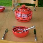 Service à soupe Tatoué rouge - 6 pers