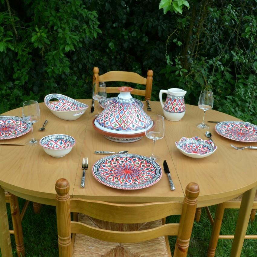 Service tajine assiettes plates Bakir rouge - 6 pers