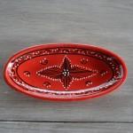 Plat ovale Tatoué rouge - L 24 cm