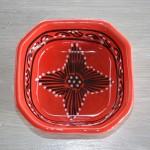 Plat octogonal Tatoué rouge - L 20 cm