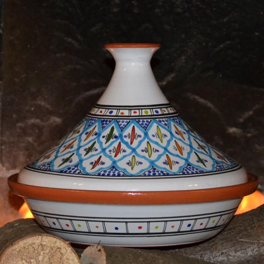 Tajine Bakir turquoise - D 31 cm traditionnel