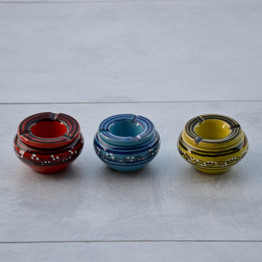 Lot de 3 mini cendriers Tatoué Rouge, Vert et Bleu