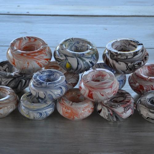 Lot de 5 Cendriers artisanaux Marbré - Moyen modèle