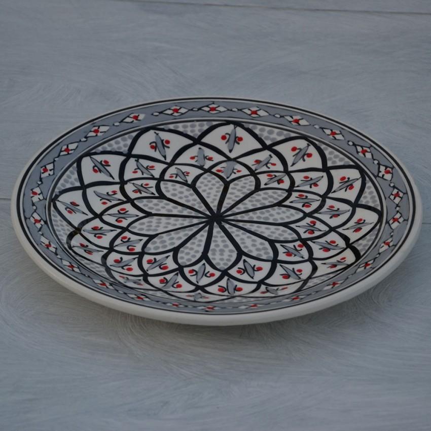 Lot de 6 assiettes plates Bakir gris - D 28 cm