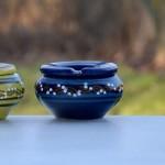 Lot de 2 cendriers tatoué bleu nuit - moyen et petit modèle