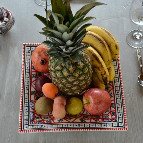 Assiette carrée Bakir rouge - Larg 30 cm