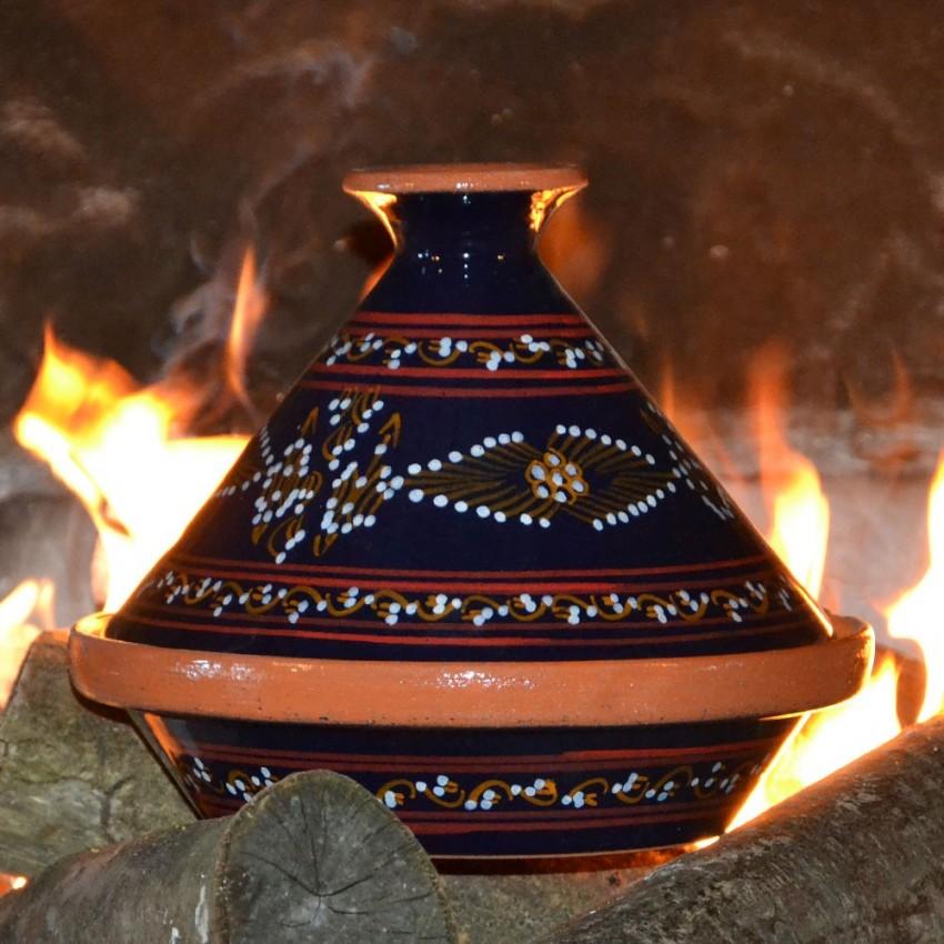 Tajine individuel de cuisson Tatoué Bleu nuit - D 23 cm