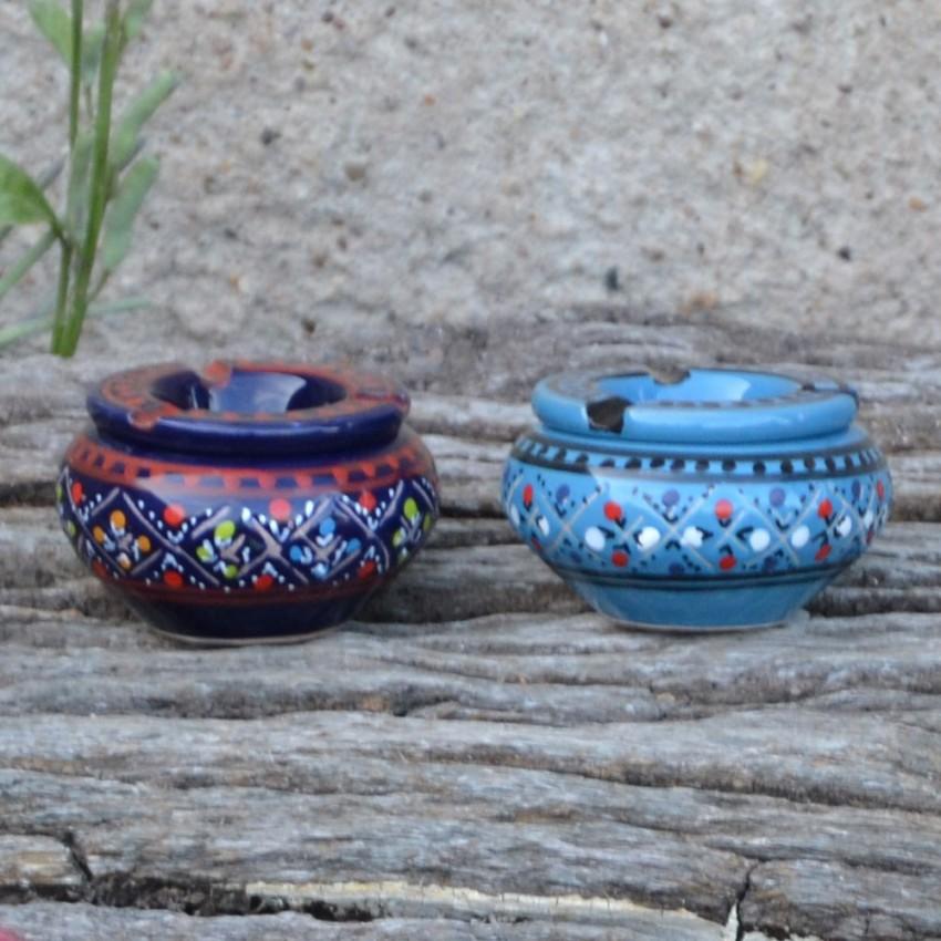 Lot 2 mini cendriers Marrakech bleu nuit et bleu clair - Mini modèle