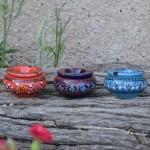 Lot 3 mini cendriers Marrakech bleu,rouge et bleu nuit - Mini modèle