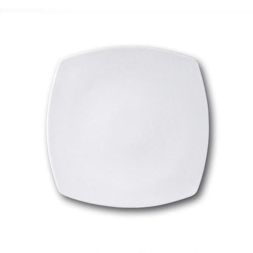 Assiette carrée en porcelaine blanche - L 26 cm