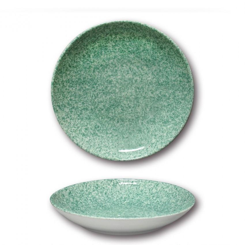 Assiette à couscous porcelaine colorée - D 26 cm - Granito vert