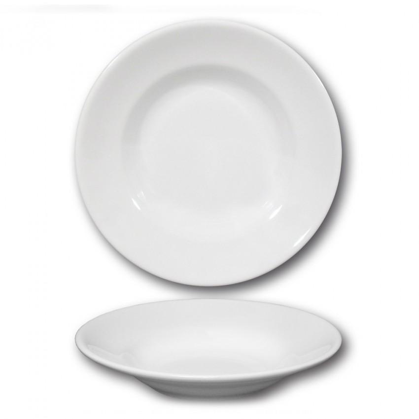 Lot de 6 assiettes creuses porcelaine blanche - D 23,5 cm - Tivoli