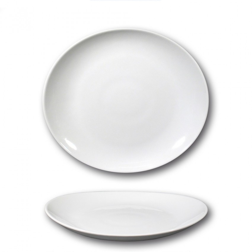 Lot de 6 assiettes à steak porcelaine blanche - D 27,5 cm - Tivoli