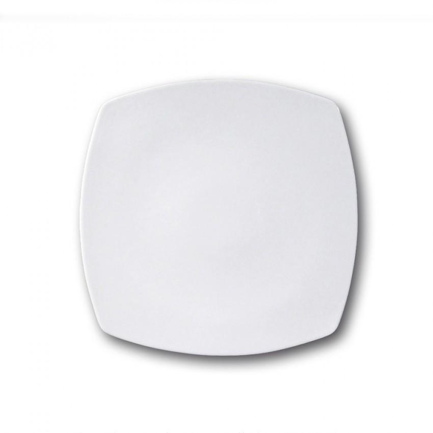 Lot de 6 assiettes carrées porcelaine blanche - L 26 cm - Tokio