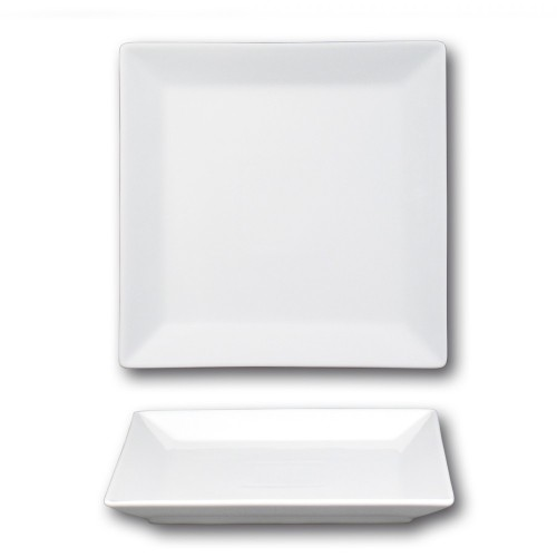 Lot de 6 assiettes plates carrées porcelaine blanche - L 24 cm - Kimi