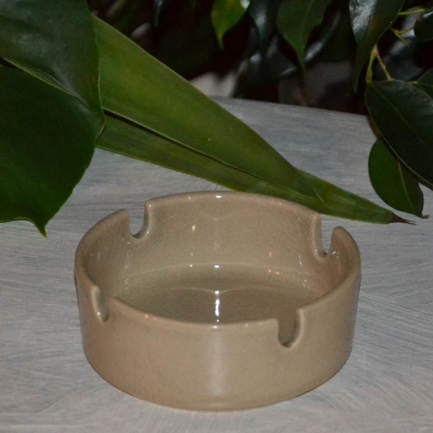 Cendrier original craquelé beige